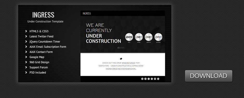 Ingress – Under Construction & Coming Soon Template