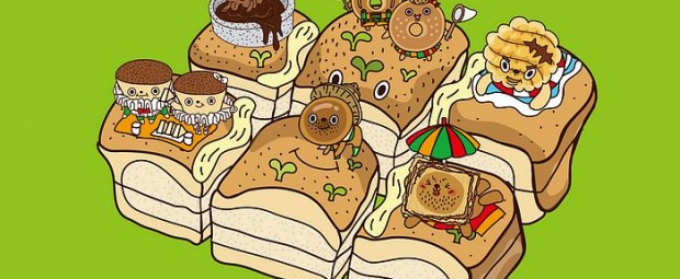 Cartoonish Breads and Pastry Characters Wallpapers
