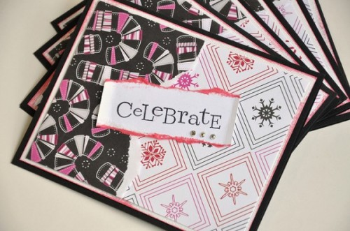 10_Girly Grunge Celebrate Winter Holiday Card Set