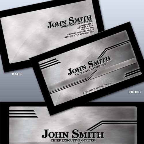 25_Stylish Brushed Metal Business Card Templates