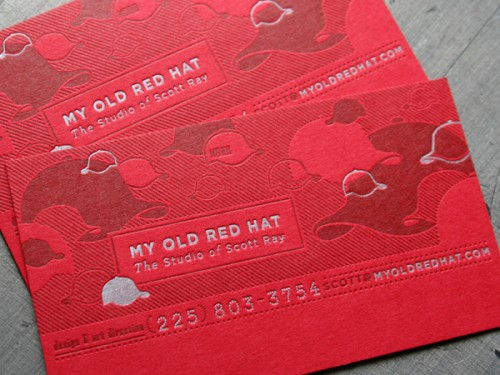 3_ Old Red Hat Letterpress Business Cards