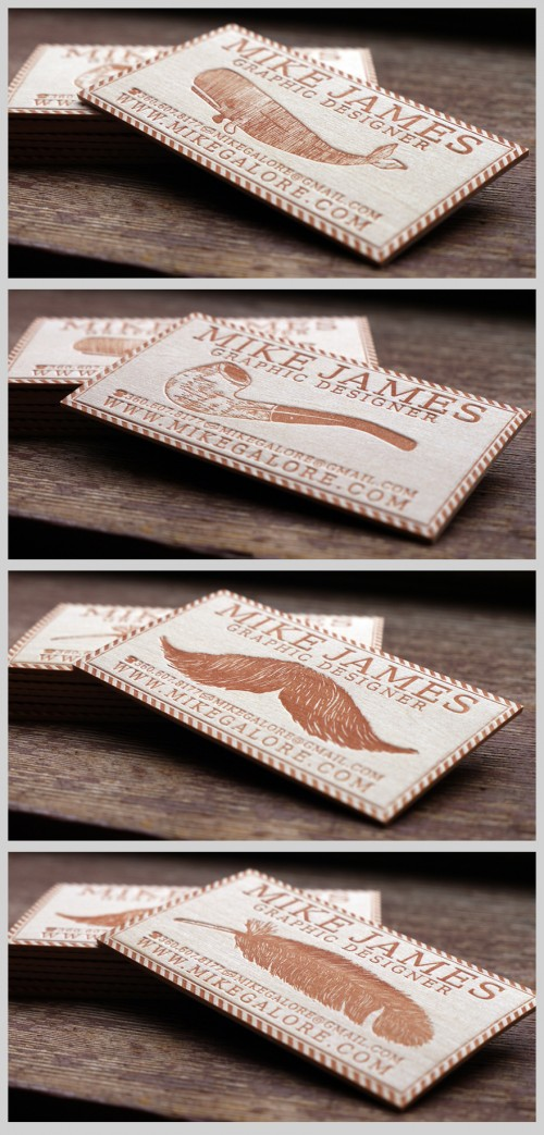 7_Letterpress Balsa Wood Business Cards