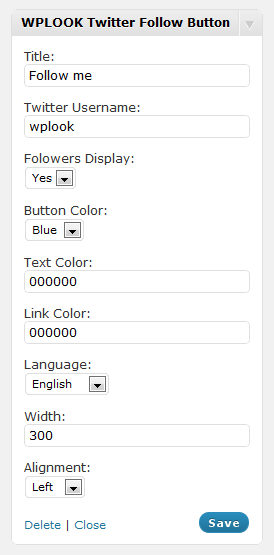 9_WPLOOK Twitter Follow Button