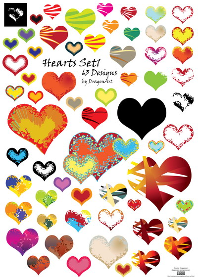 12_Vector Hearts Set1 And Wallpapers