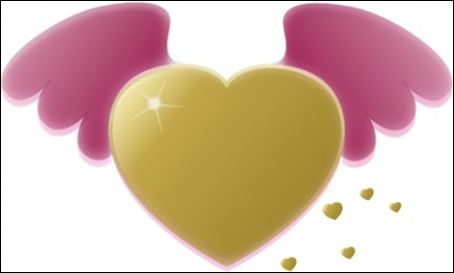 16_Gold Heart with Pink Wings
