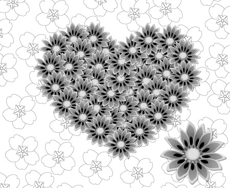 18_Grey Flowered Heart