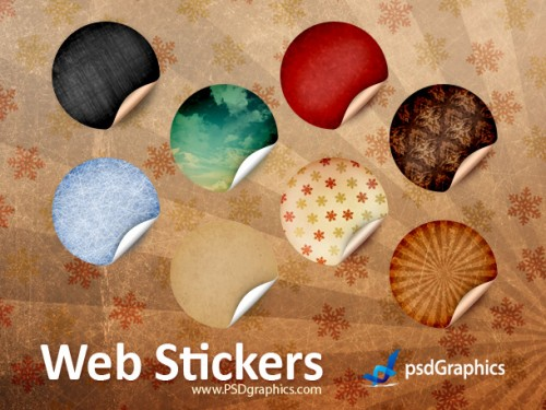 91_Round Retro Stickers, PSD Template