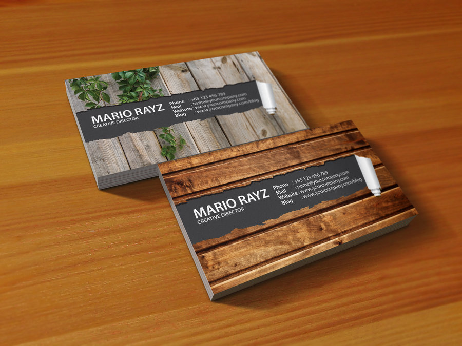 24 beautiful wooden business card designs designcanyon peeling business card reheart Image collections
