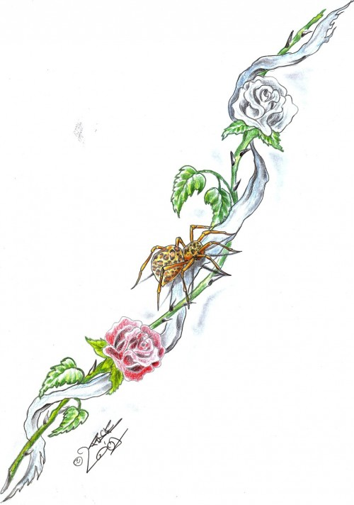 Spider Rose Tattoo Design