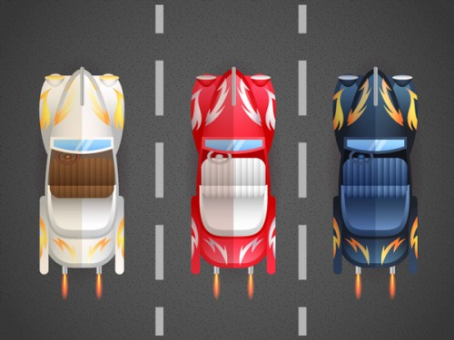 Create a Bird's-Eye View of Retro Cars