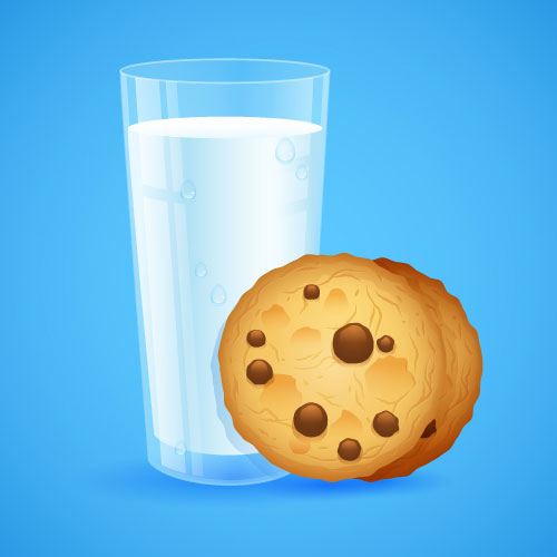 Glass of Milk and Cookies in Adobe Illustrator